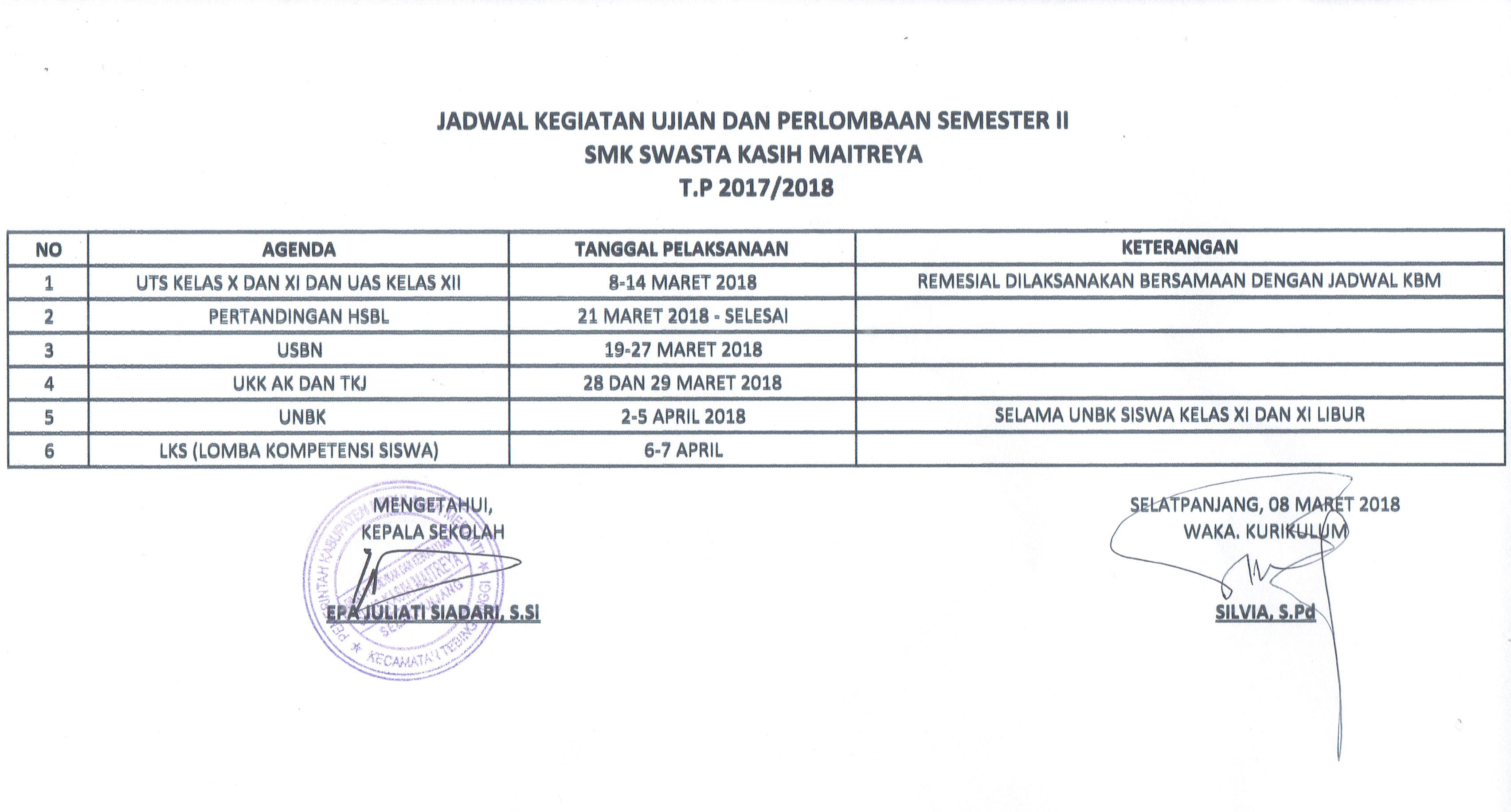 Jadwal Kegiatan Ujian dan Perlombaan Semester II